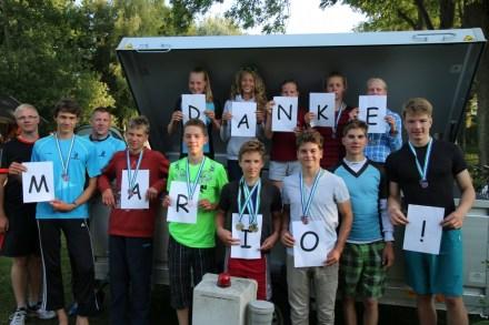 Herzlichen Dank für die Nutzung des Anhängers zum Transport der Küchenutensilien, Paddel und Schwimmwesten an Mario
