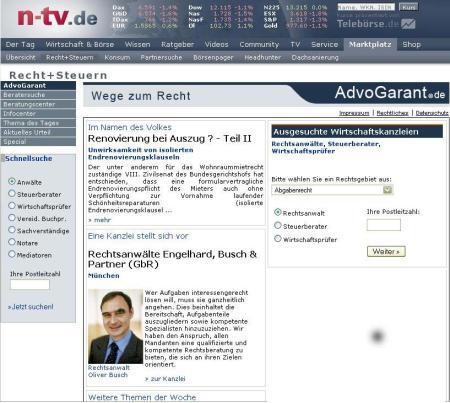 Die Kanzlei in n-tv.de am 06.03.2008
