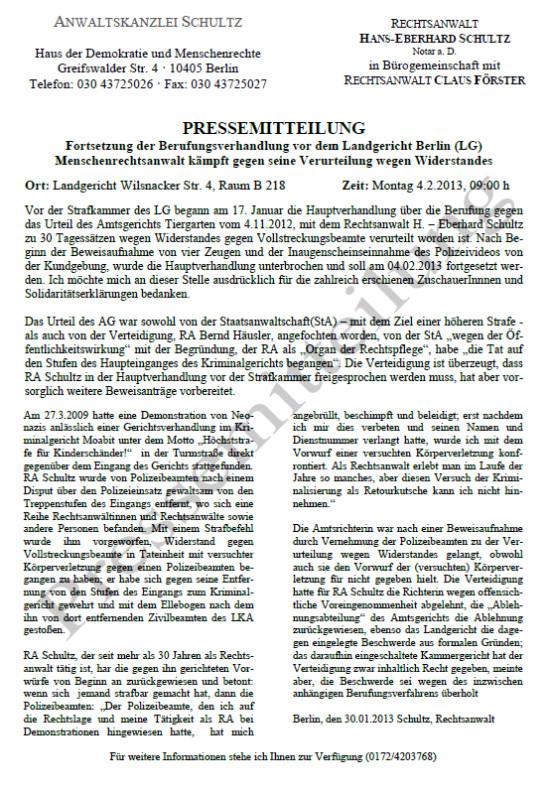 Pressemitteilung RA Schultz