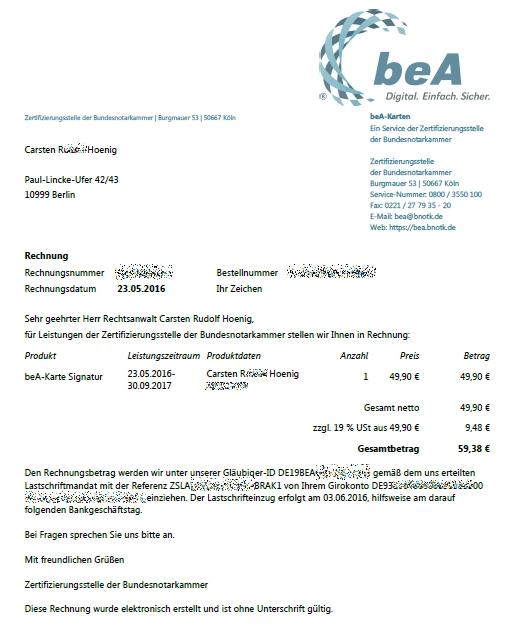 bea-Rechnung