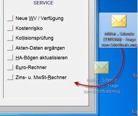 E-Mail Zuordnung per Drag & Drop - Workflow für E-Mails mit der Anwaltssoftware LawFirm