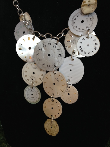 Love this necklace made from watch parts