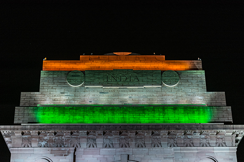India national flags tri-color on India gate at night
