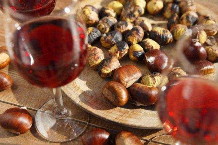 Sapori d'autunno in un aperitivo: Castagne e vino