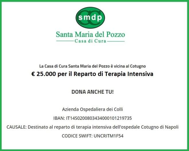 Covid19: La casa di cura Santa Maria del Pozzo dona 25mila euro al Cotugno