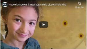 Nuovo lockdown, il messaggio della piccola Valentina