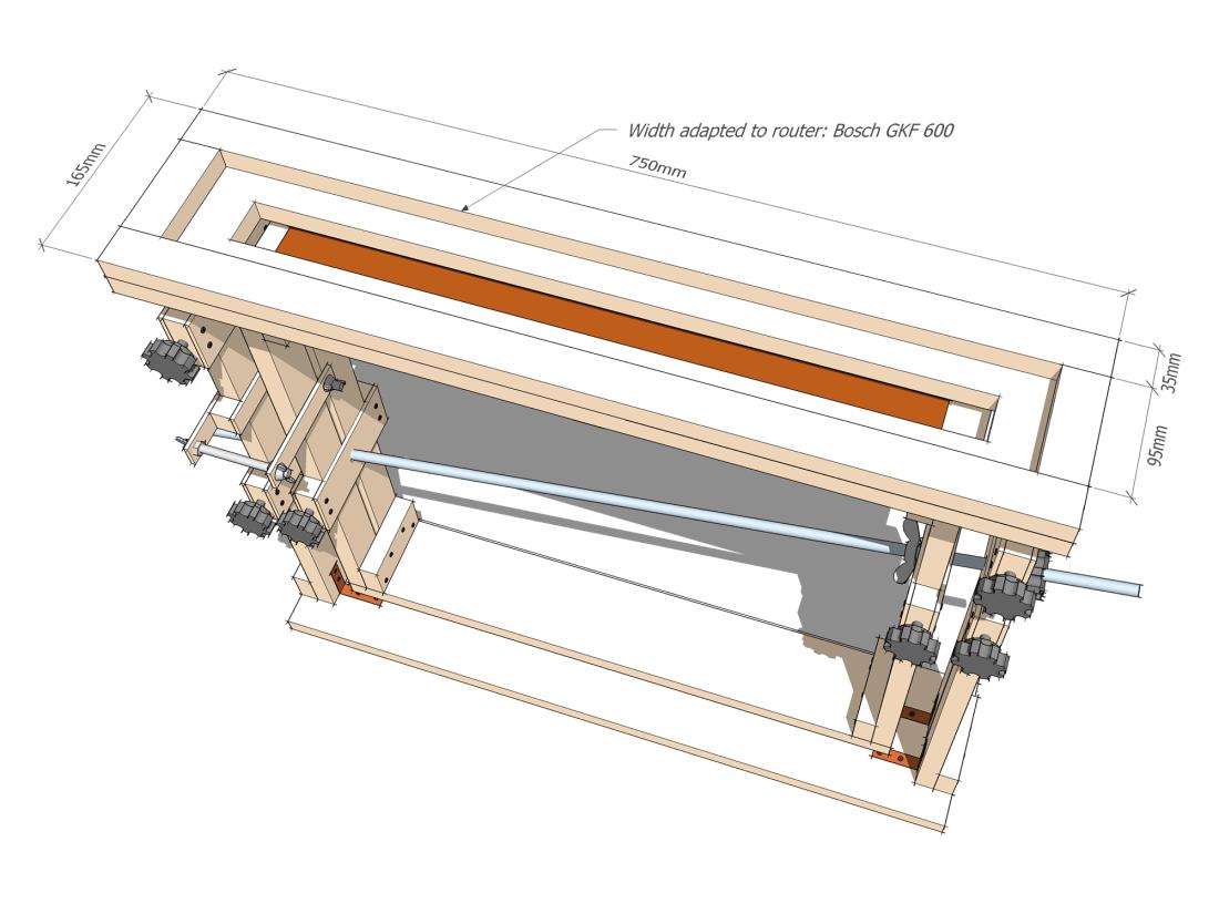 Fingerboard radius jig - Router board