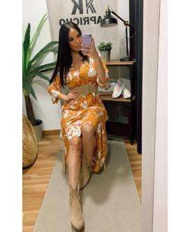 Vestido estampado naranja