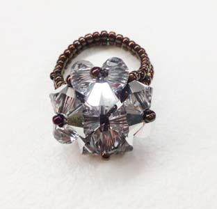 cristal silver clover ring 2