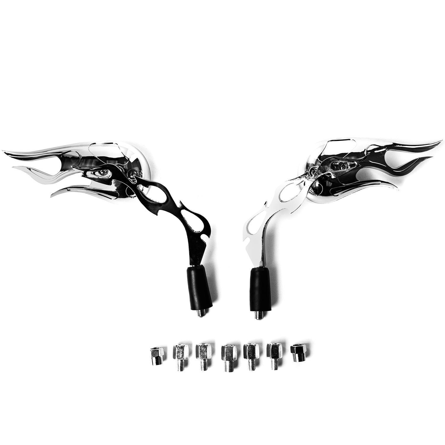 Chrome Flame Custom Rearview Mirrors Harley Motorcycle