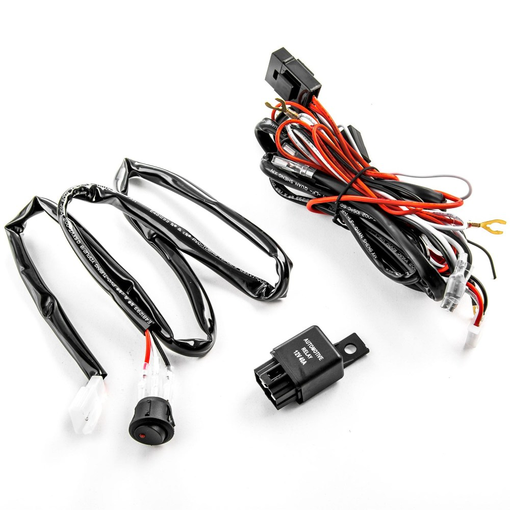 medium resolution of wiring harness kit for led lights 200w 12v 40a fuse relay on off switch relay universal compatible with led hid or halogen off road light bars