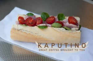 ham and tomato baguette from Kaputino
