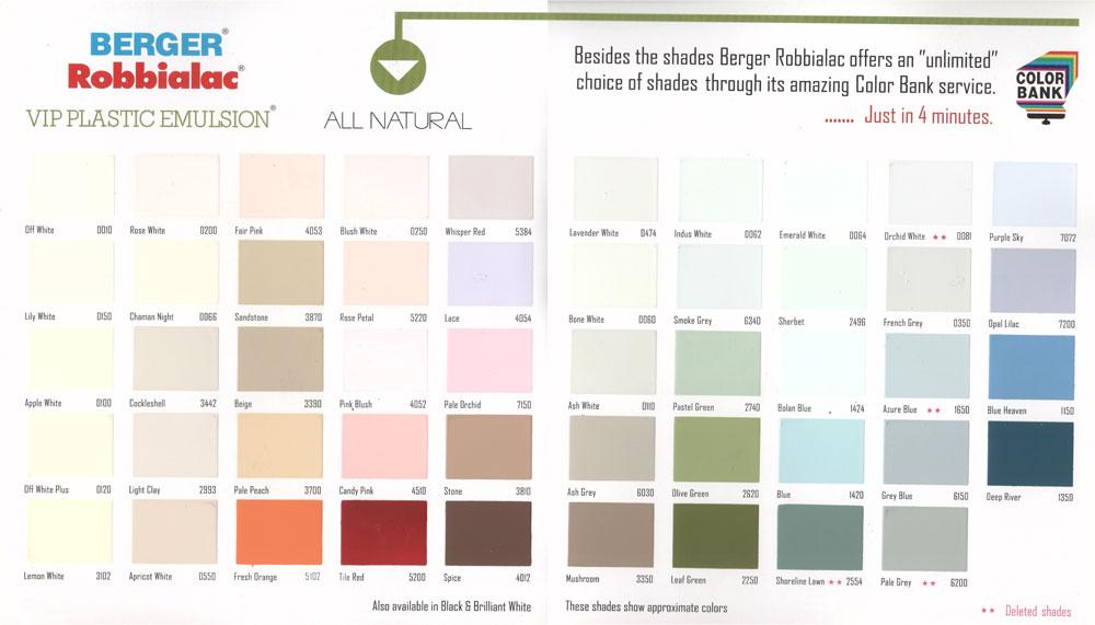 Berger paints jamaica colour chart for Berger paints exterior house colors