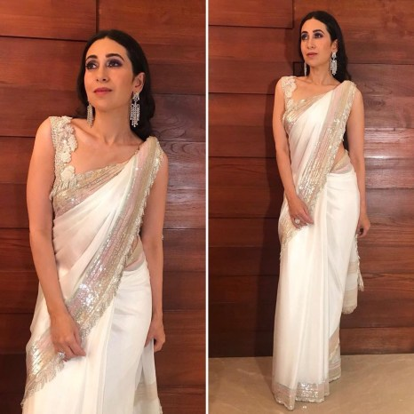 Karishma is a white demure saari