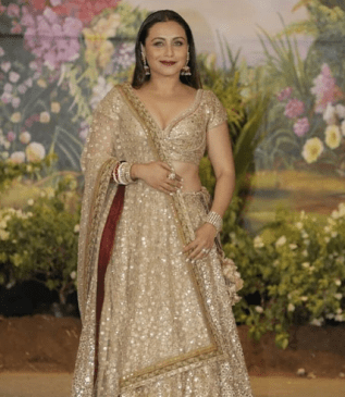 Rani Mukherjee in a gold lehnga choli