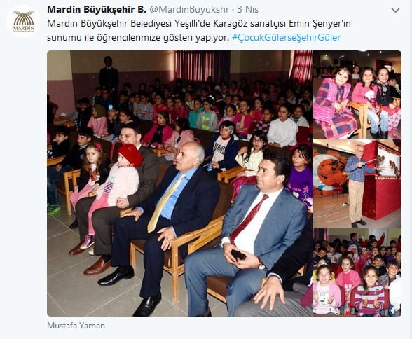 Mardin Büyükşehir Belediyesi'nin attığı Twitter notu