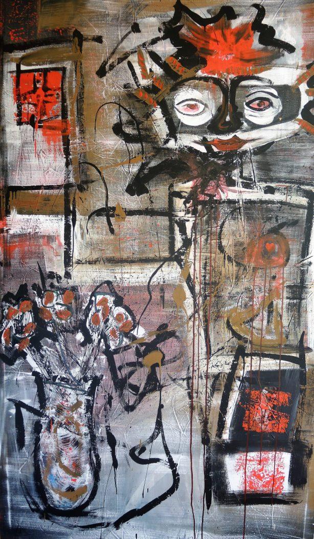 """""""Κυρία επί της υποδοχής"""" . 230 x 130 cm. Ακρυλικά χρώματα."""