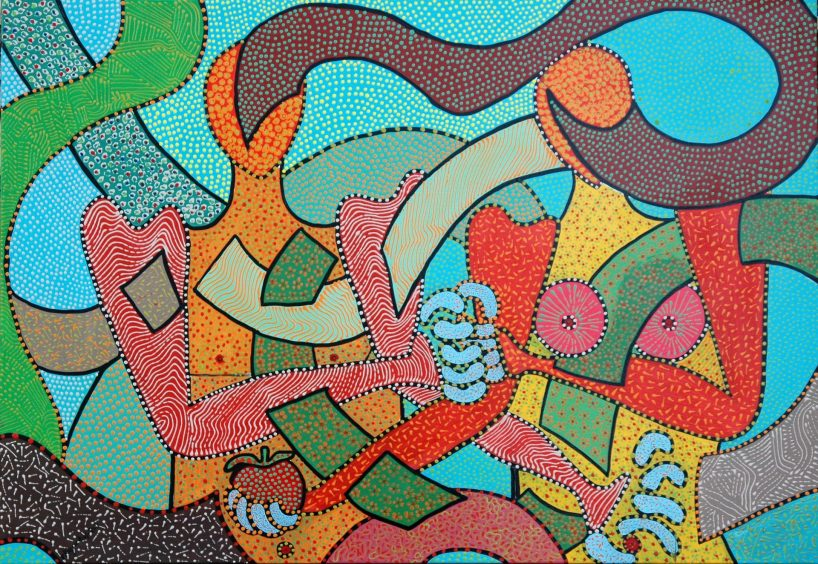 """""""Αδάμ και Εύα"""". 140x120cm. Ακρυλικά χρώματα."""