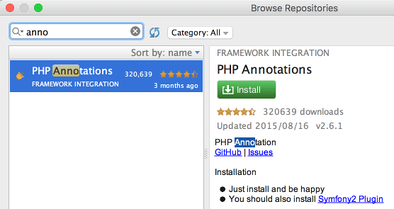 PHP Annotations plugin インストール