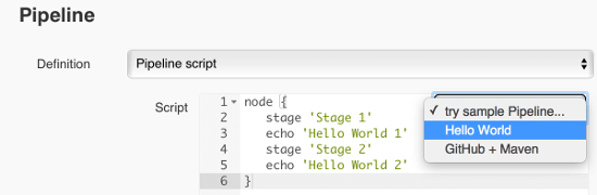 jenkins2 pipeline Hello World