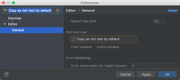 Copy as rich text by default