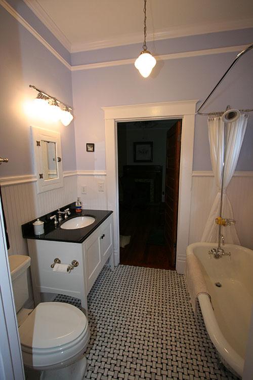 Traditional Black  White Bathroom