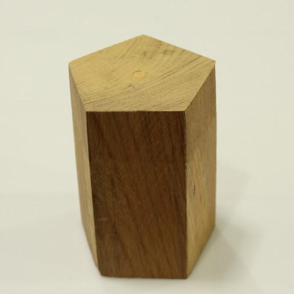Handcrafted WOOD Pentagonal PRISM(Polygon), Home, Garden, Pot, Decor, Jewellery Display Stand, TEAK, 70-110-mm or 3-4-inch Width