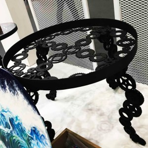 Handcrafted METAL Round Table with Painting on Top(Curved Leg), Circular Table, Home, Working, Living or Dining Room, 1000-mm or 40-inches, Real Auto Parts