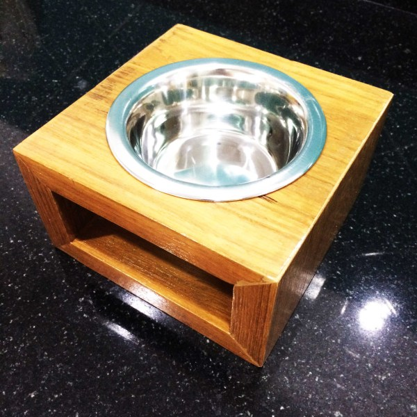Handcrafted WOOD Cat & Dog Bowl/Pet Feeding Stand(Modern Style), Indoor and Outdoor, Comfort, Natural Wood Pet Self-Feeder, 170-mm, 7-inch Width