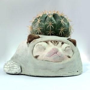 Handcrafted Cement VANILLA Planter(Cat Plant Pot), House, Office, Cat, Garden Plant Pot, Unique Pot, Container, 170-mm, 6-1/2-inches(Width)