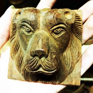Handcrafted WOOD LION_B Sculpture, House, Office, Bedhead, Figure, Art, Home Decor, 100-mm or 4-inches(Width)