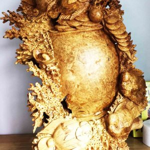 Handcrafted WOOD GOLDFISH WITH MONEY POT Sculpture, Wealth, Lucky, House, Office, Figure, Art, Home Decor, 850-mm or 33-1/2-inches(Height)