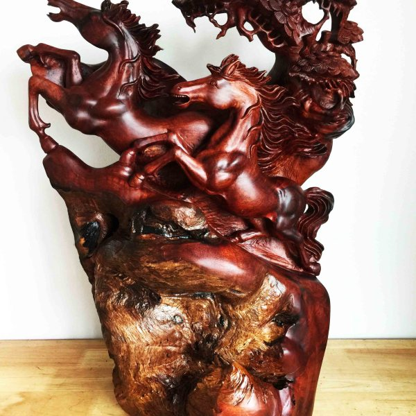 Handcrafted WOOD RUNNING HORSE Sculpture, Strength, Enthusiasm, House, Office, Figure, Art, Home Decor, 720-mm or 28-1/2-inches(Height)