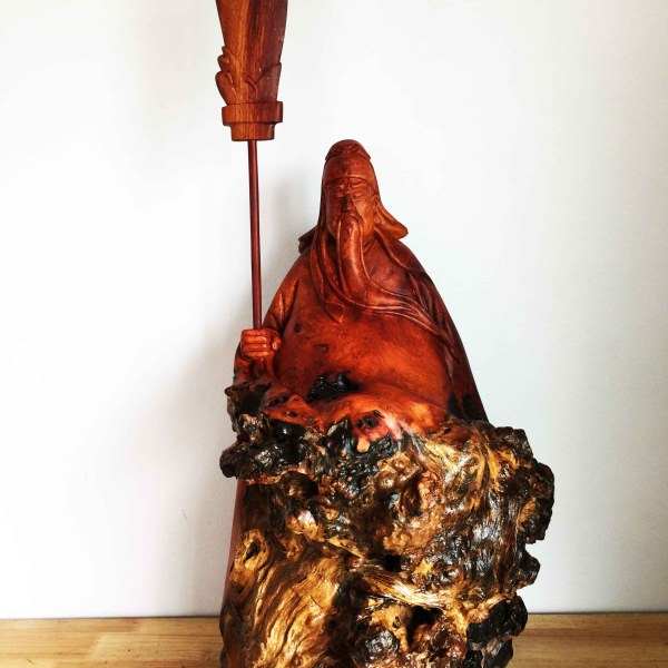 Handcrafted WOOD GUAN YU Sculpture(God of War), Guan Gong, Righteousness, House, Office, Figure, Art, Home Decor, 680-mm or 27-inches(Height)