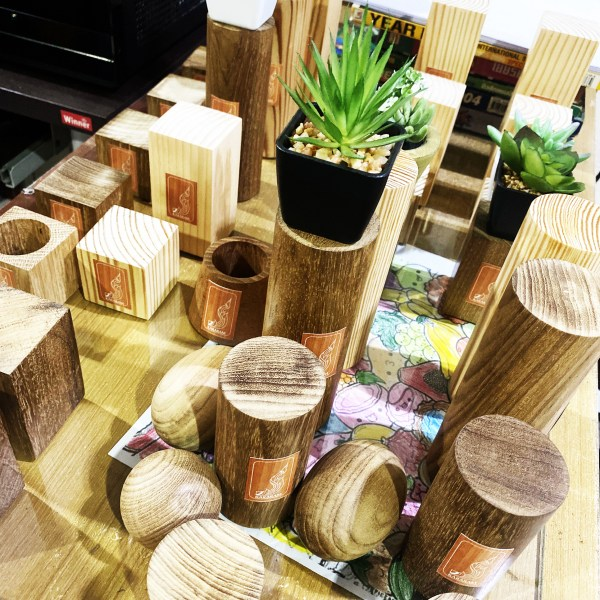 Handcrafted Natural WOOD Display STAND/Planter(Timber Pedestal), Home, Office, Showcase, Garden Plant Pot, Unique Pot, Container, RANDOM Set of 3 to 9 Sizes of Wood and Artificial Plant Products, 2 to 6-inches(Height)