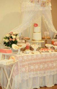 Kara's Party Ideas Vintage Peach Gold Baby Shower Planning