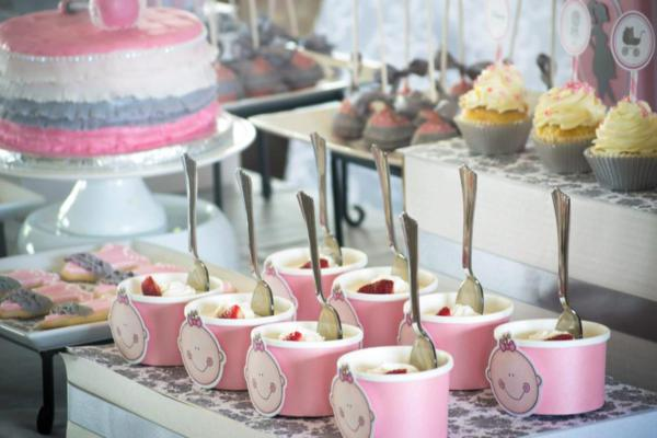 Karas Party Ideas Pink Gray Princess Girl Themed Baby