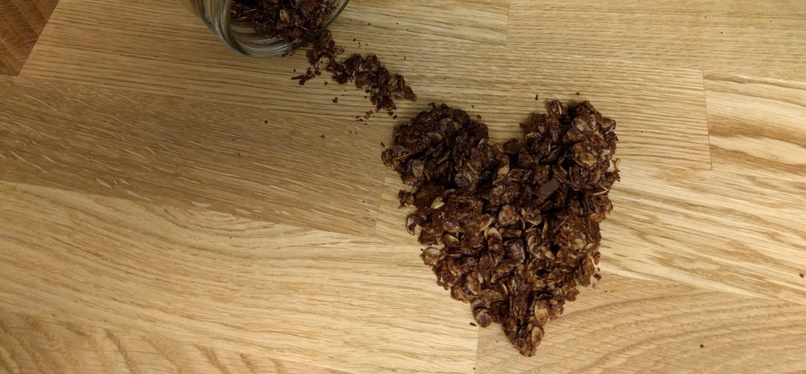 peanut butter chocolate granola heart