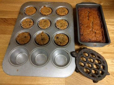 banana bread in pans before and after baking