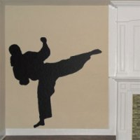 Taekwondo Girl Wall Decal - Female Fighter Wall Vinyl ...