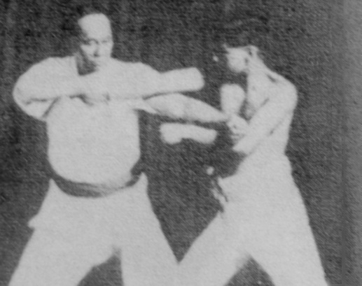 Motobu Choki demonstrating tuidi-waza from Naihanchi Shodan