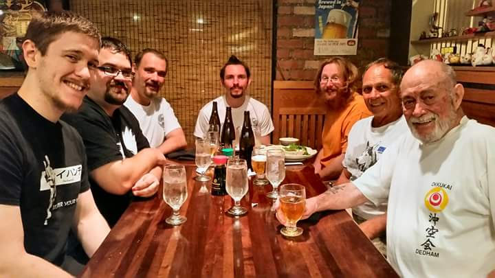 (Left to right); Myself, Don Bratton, Ryan Parker, Richard Poage, Matt Sheridan, Ed Dinardo, and Chuck Merrimcan having post-training dinner and drinks at Hiro Sushi