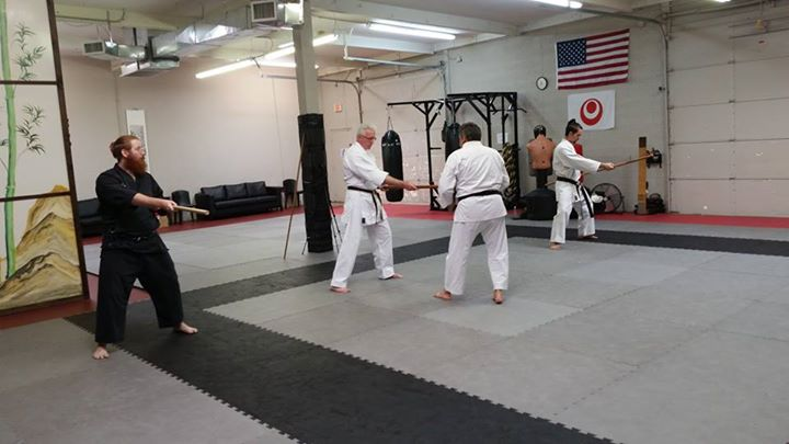 Ed Sumner (Center) working on Yamane-Ryu Shuji no Kon with Raphael Gutierrez