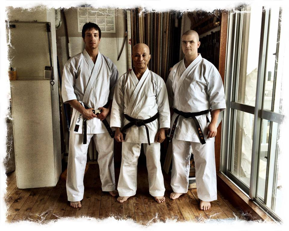 Chris Denwood and his senior student with Shinzato Katsuhiko Sensei on Okinawa in 2014
