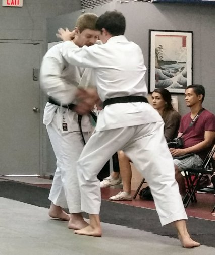 Cameron and I demonstrating the end of the second yakusoku kumite drill from the original set