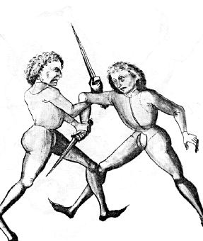 A shoulder wrench from Hans Talhoffer's manual on medieval combat