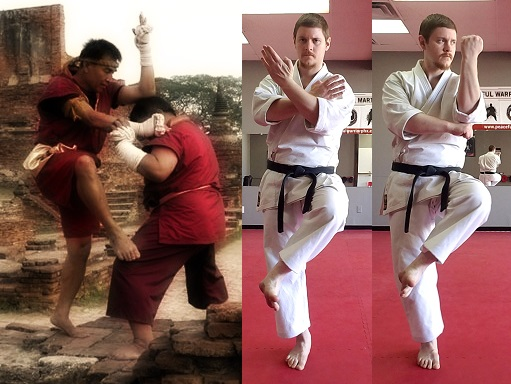 Side-by-side comparison of a Muay Boran technique, a posture from Gojushiho, and a posture from Naihanchi