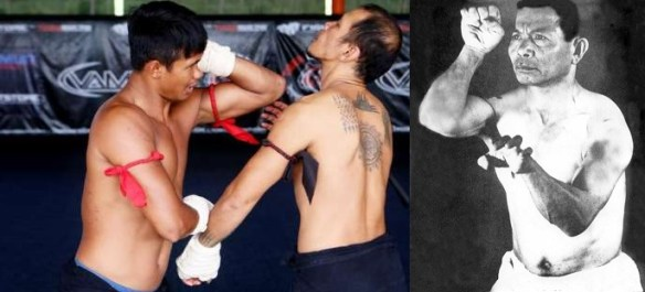 A fighter from Tiger Muay Thai demonstrating a Muay Boran technique, compared to Uechi Kanei (son of Uechi-Ryu founder, Uechi Kanbun) demonstrating a posture found in Sanseiryu