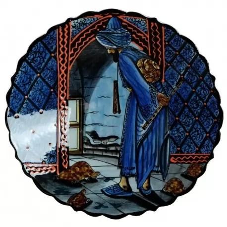 Plat En Cramique Kaplum Bleu 30cm Avec Dresseur De Tortue