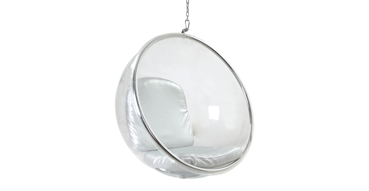 HANGING BUBBLE CHAIR Transparent  Silver Cushion globe